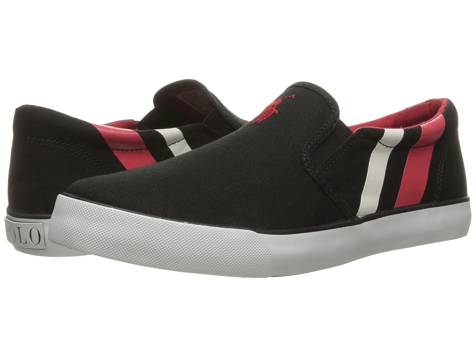 Polo Ralph Lauren Kids - Paxon (Big Kid) (Black Canvas/Red Pony Player/White) Kid's Shoes