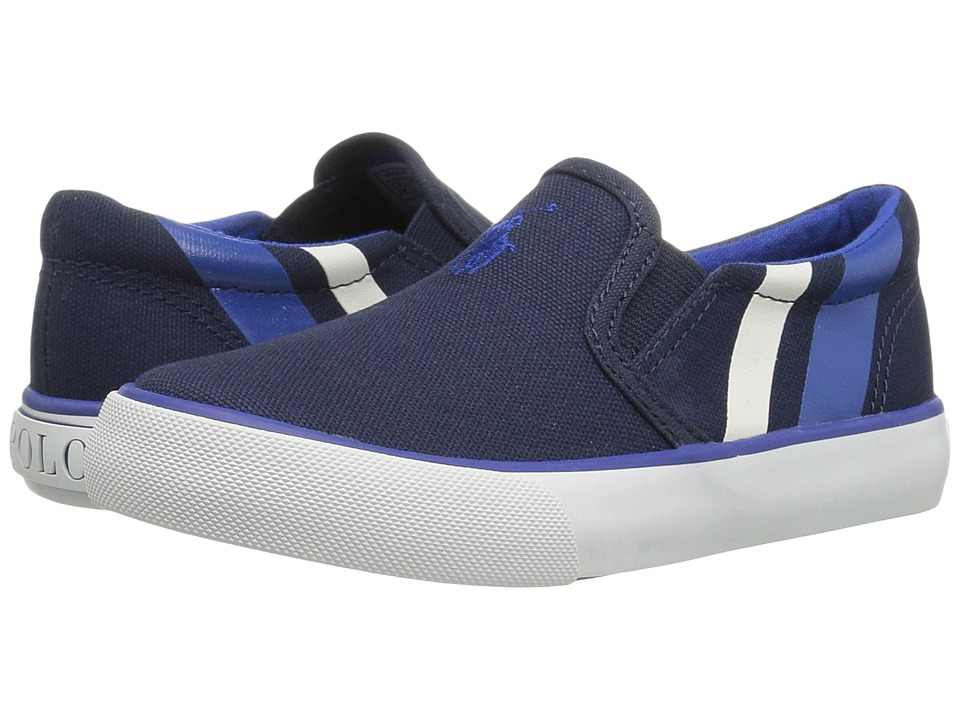 Polo Ralph Lauren Kids - Paxon (Little Kid) (Navy Canvas/Royal Pony Player/White) Kid's Shoes