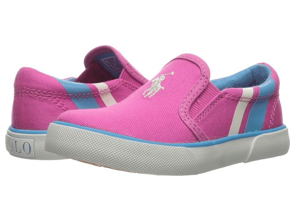 Polo Ralph Lauren Kids - Prezli (Toddler) (Pink Canvas/White Pony Player/Teal) Girl's Shoes