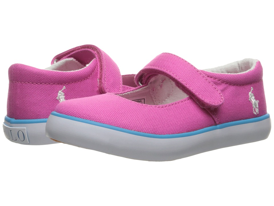 Polo Ralph Lauren Kids - Pamela MJ (Toddler) (Fuchsia Canvas/Teal Pony Player) Girl's Shoes