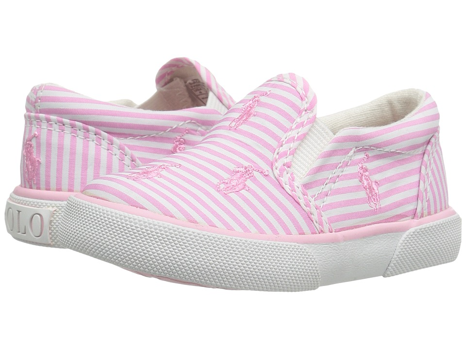 Polo Ralph Lauren Kids - Bal Harbour Repeat (Toddler) (Pink Stripe Poplin/Pink Pony Player) Girls Shoes