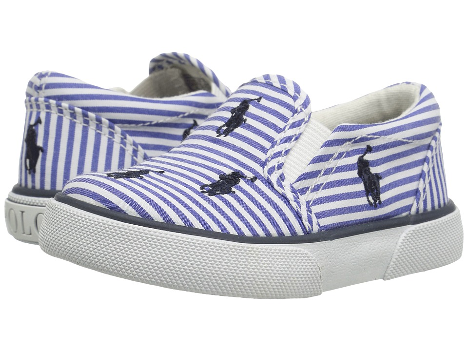 Polo Ralph Lauren Kids - Bal Harbour Repeat (Toddler) (Blue Stripe Poplin/Navy Pony Player) Kid's Shoes