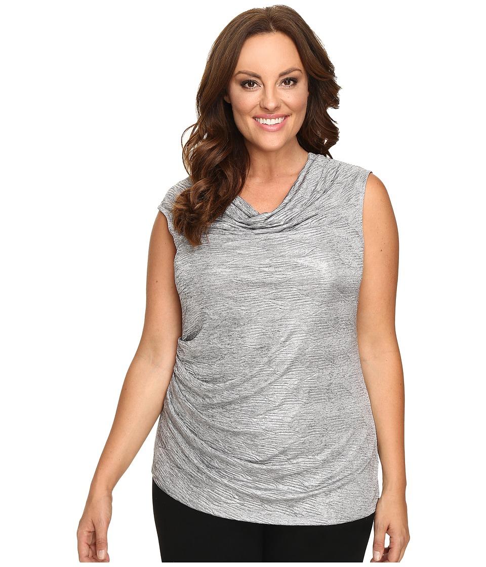 Calvin Klein Plus Plus Size Sleeveless Metallic Top (Tin) Women