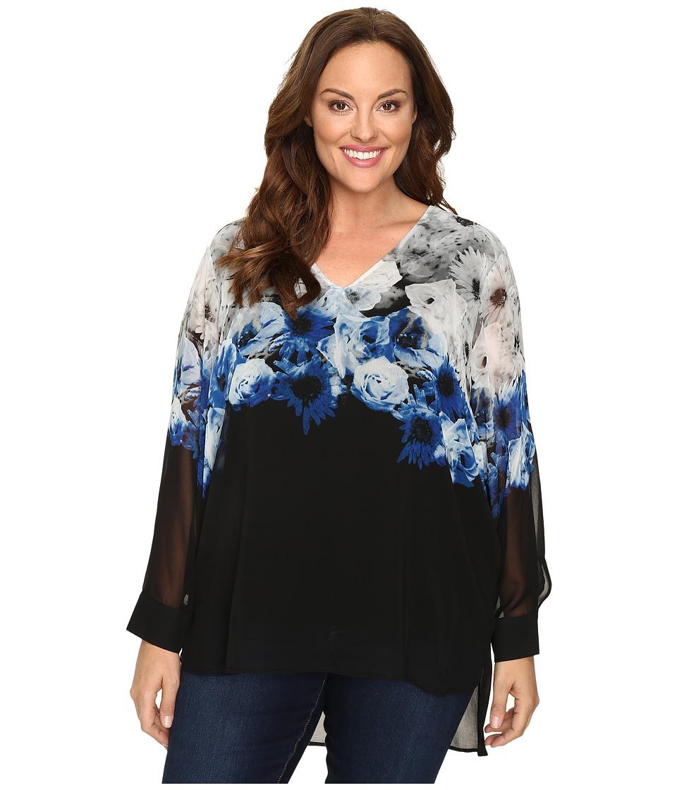 Calvin Klein Plus Plus Size High-Low Printed V-Neck Top (Tin Combo) Women