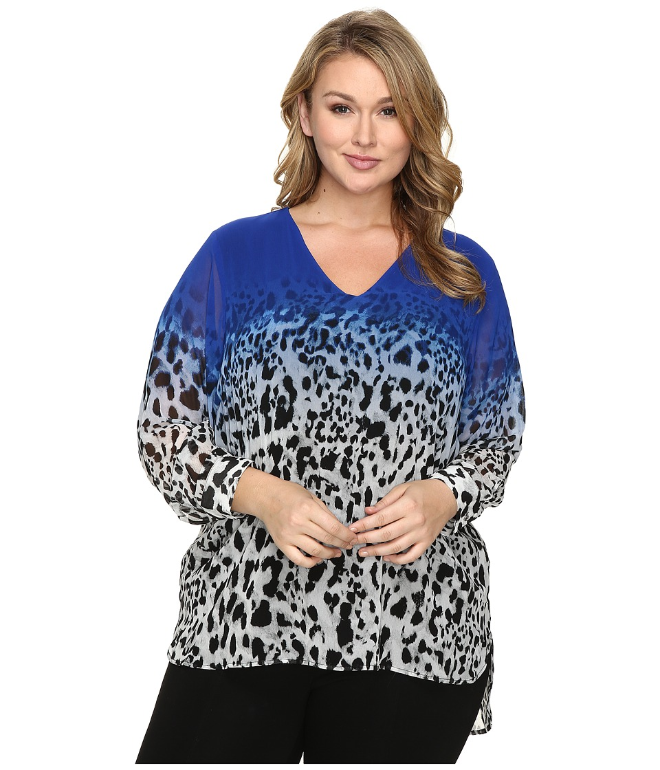 Calvin Klein Plus - Plus Size High-Low Printed V-Neck Top (Celeste/Soft White) Women's Clothing