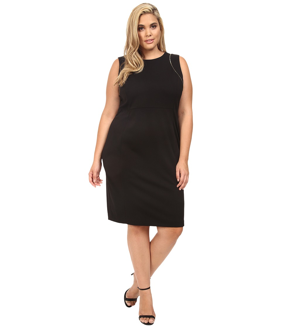 Calvin Klein Plus - Plus Size Sheath w/ Zipper at Shoulder (Black) Women's Dress