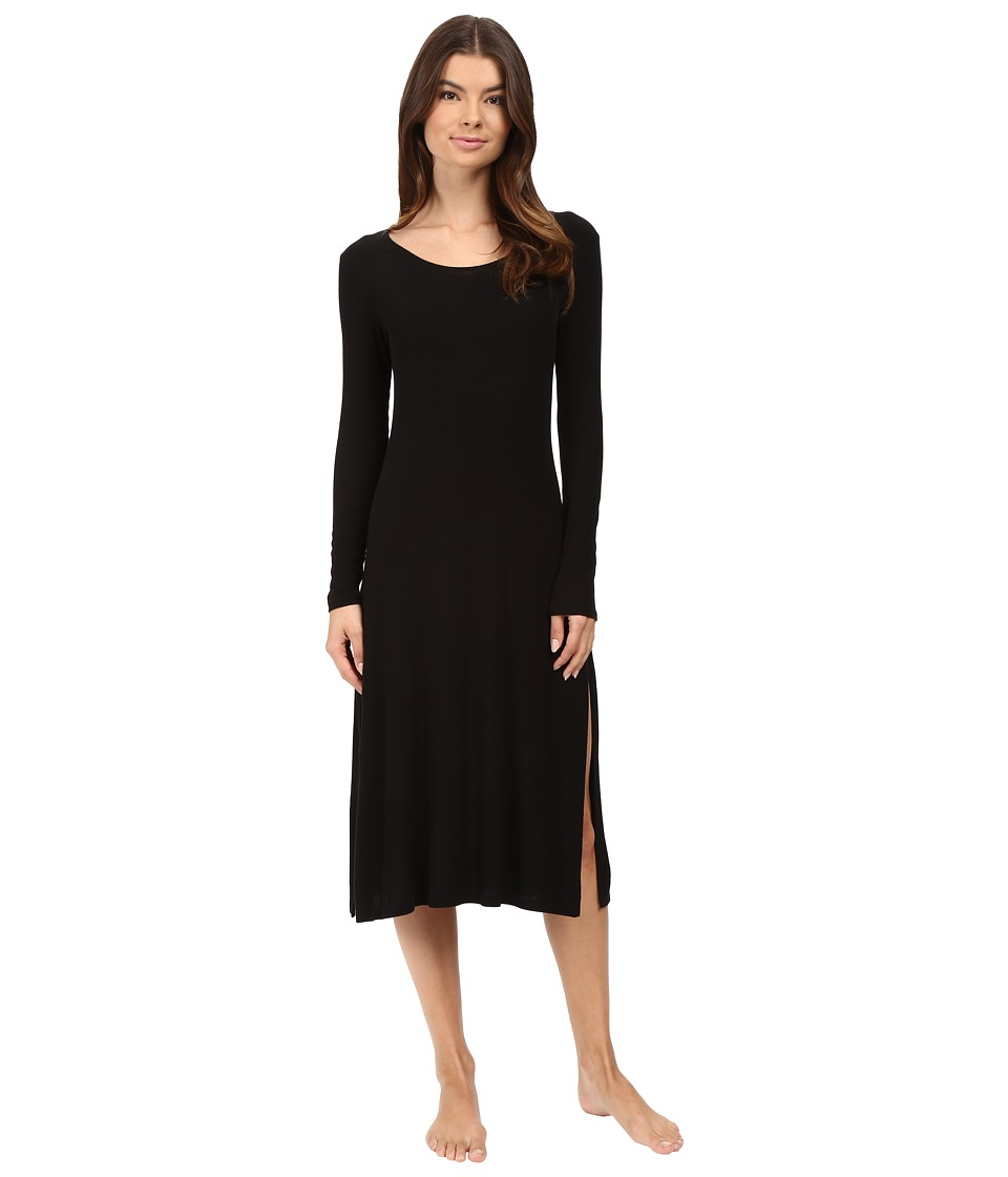 Only Hearts - Featherweight Rib Long Sleeve T-Dress (Black) Women's Pajama