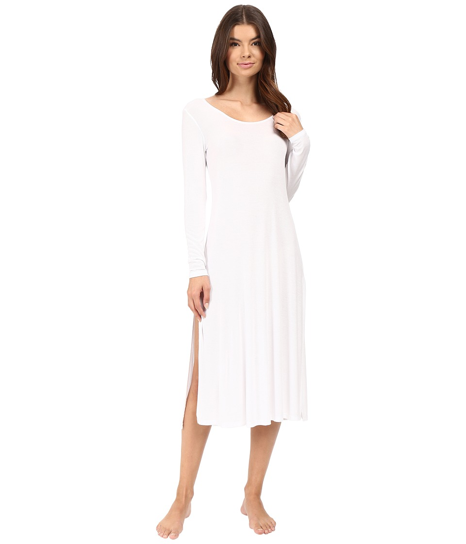 Only Hearts - Featherweight Rib Long Sleeve T-Dress (White) Women's Pajama