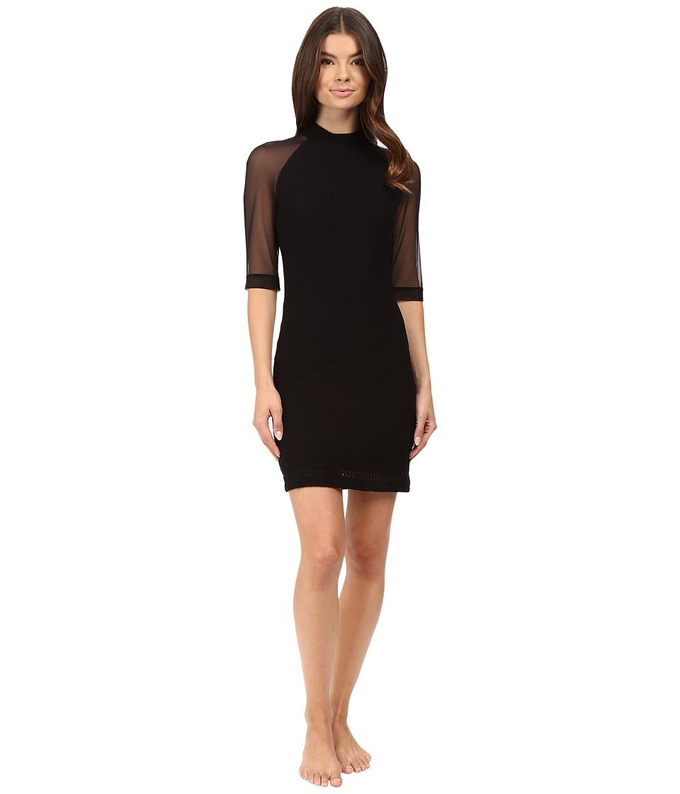 Only Hearts - Windowpane Mock Neck Dress (Black) Women's Pajama