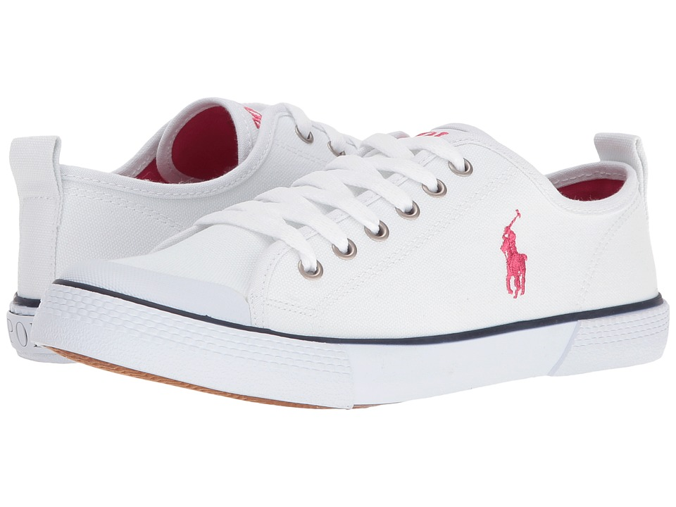 Polo Ralph Lauren Kids - Camden (Big Kid) (Paper White Canvas/Pink Pony Player) Girl's Shoes