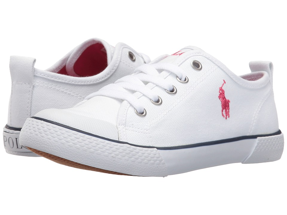 Polo Ralph Lauren Kids - Camden (Little Kid) (Paper White Canvas/Pink Pony Player) Girl's Shoes