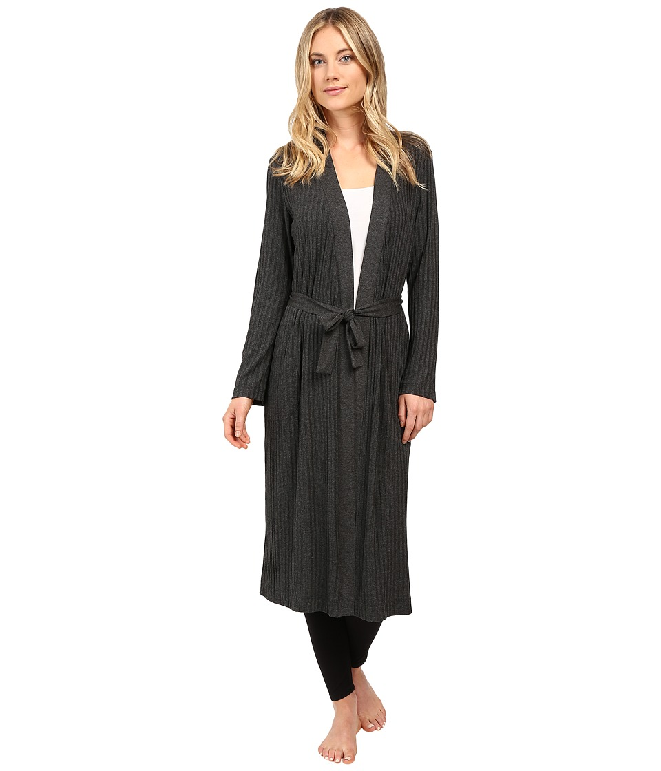 Only Hearts - Wide Wale Rib Robe (Charcoal) Women's Robe