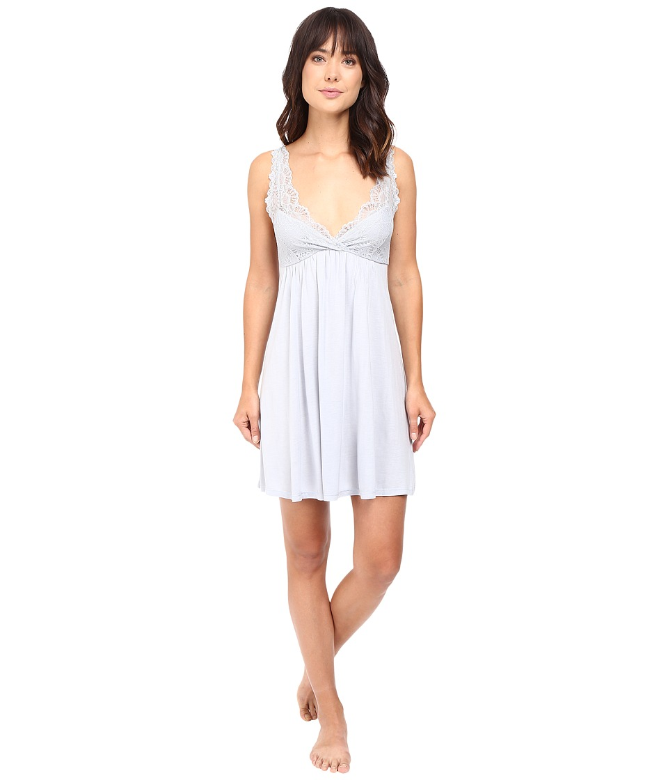 Only Hearts - Venice Tank Chemise with Lace Cups (Silver) Women's Pajama
