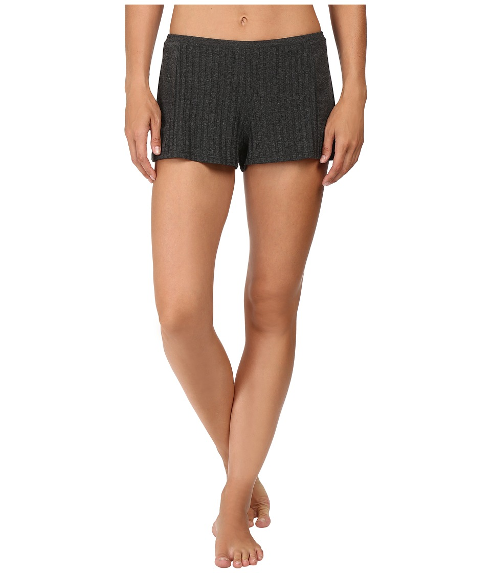 Only Hearts - Wide Wale Rib Sleep Shorts (Charcoal) Women's Pajama