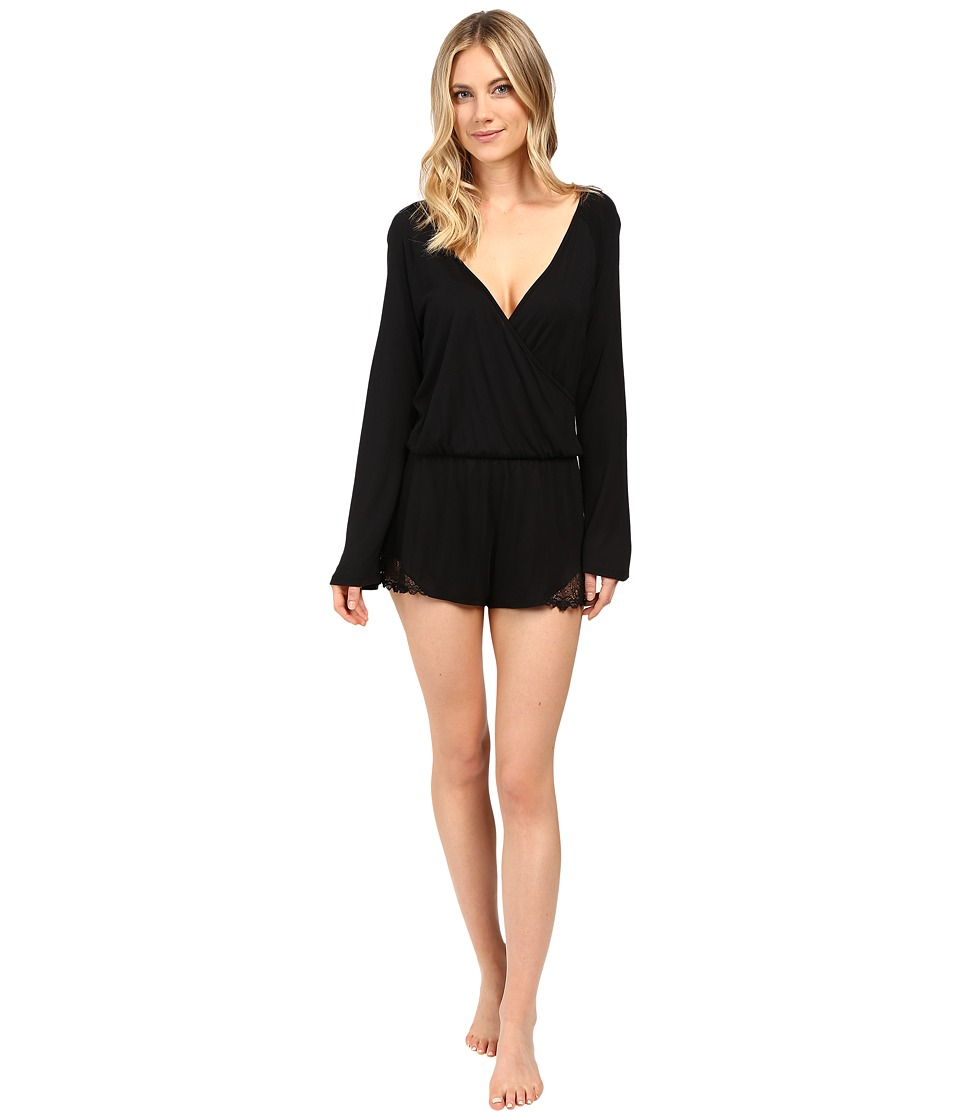 Only Hearts - Venice Long Sleeve Playsuit (Black) Women's Jumpsuit & Rompers One Piece