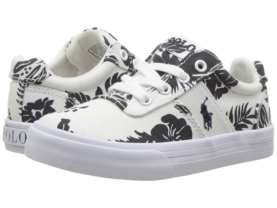 Polo Ralph Lauren Kids - Hanford (Toddler) (White Base/Navy Floral) Girl's Shoes