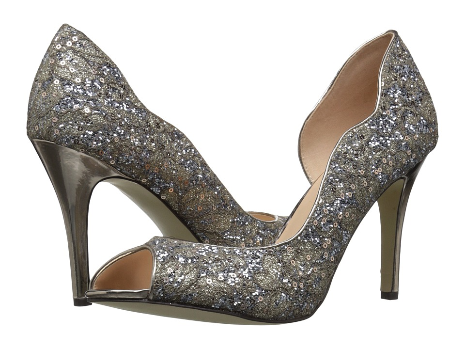 Paradox London Pink Eve Glitter Lace (Champagne) High Heels