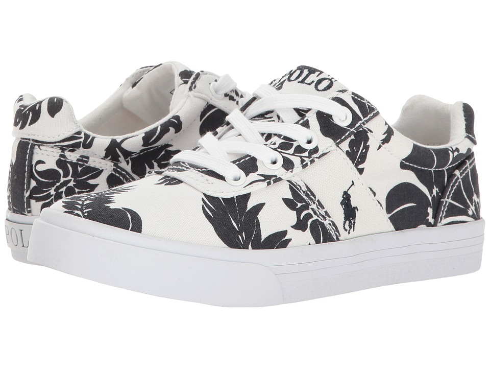 Polo Ralph Lauren Kids - Hanford (Little Kid) (White Base/Navy Floral) Girl's Shoes
