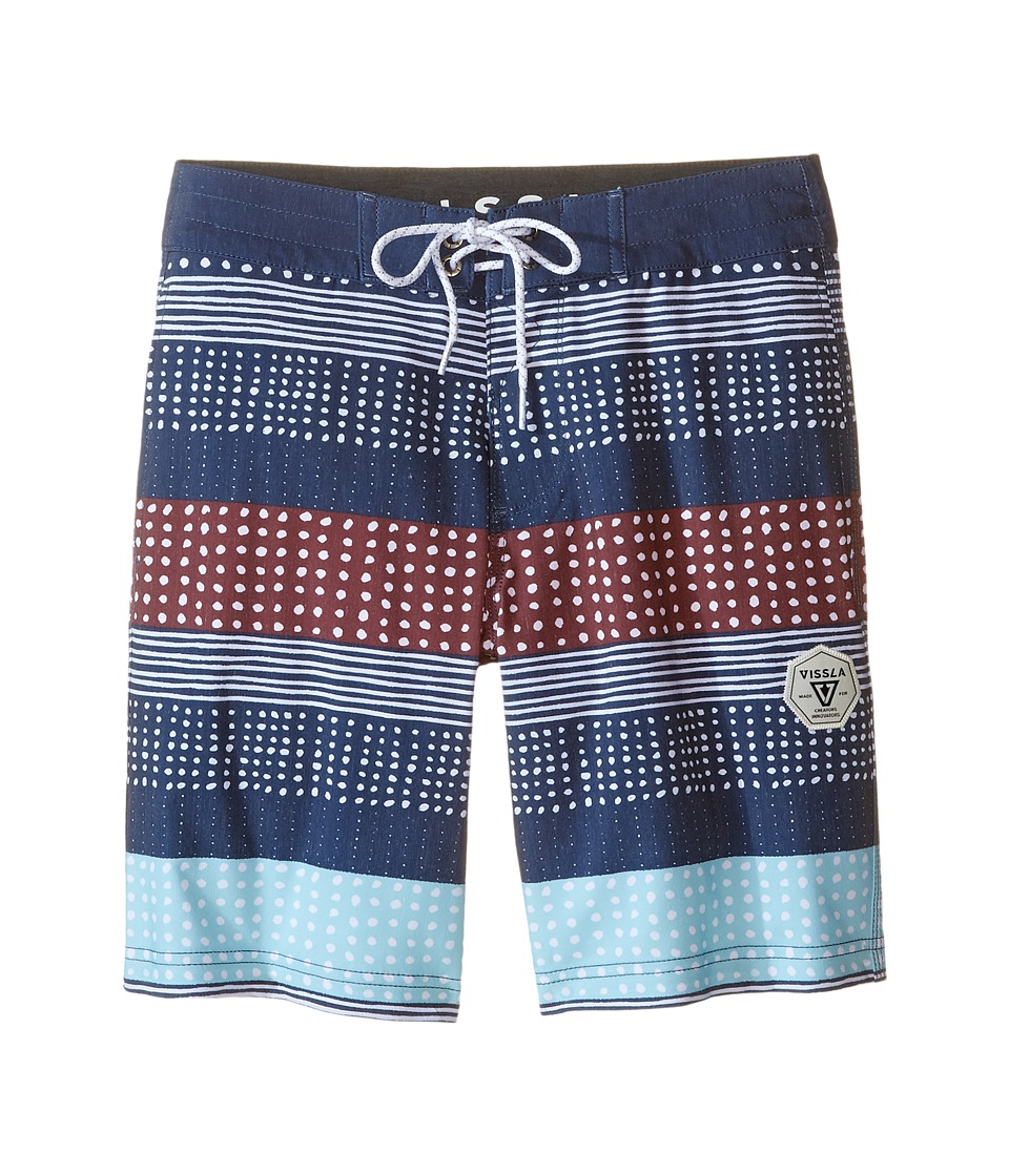 VISSLA Kids - Kookabunga Washed 4-Way Stretch Boardshorts 17 (Big Kids) (Dark Navy) Boy's Swimwear