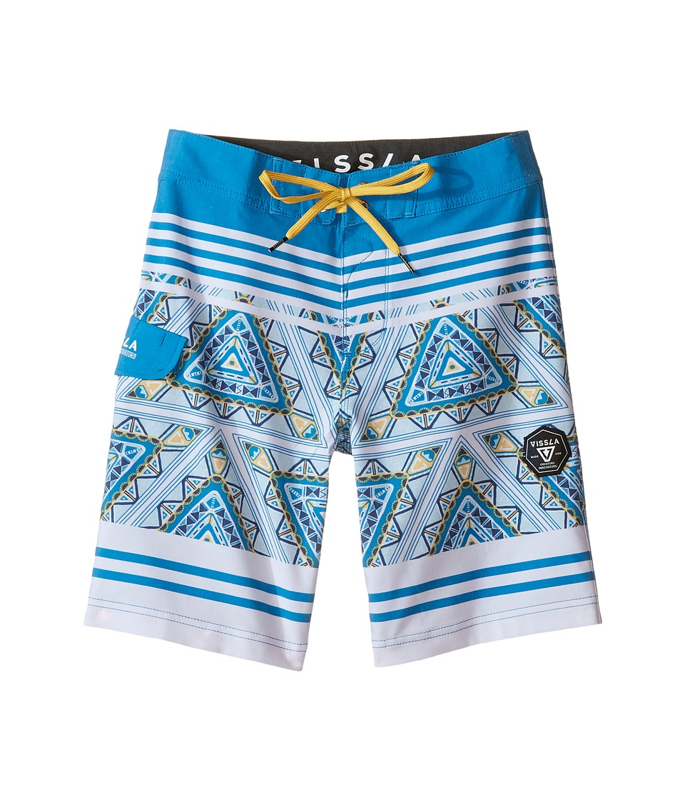 VISSLA Kids - Sinner Point Washed 4-Way Stretch Boardshorts 17 (Big Kids) (Fiji Blue) Boy's Swimwear