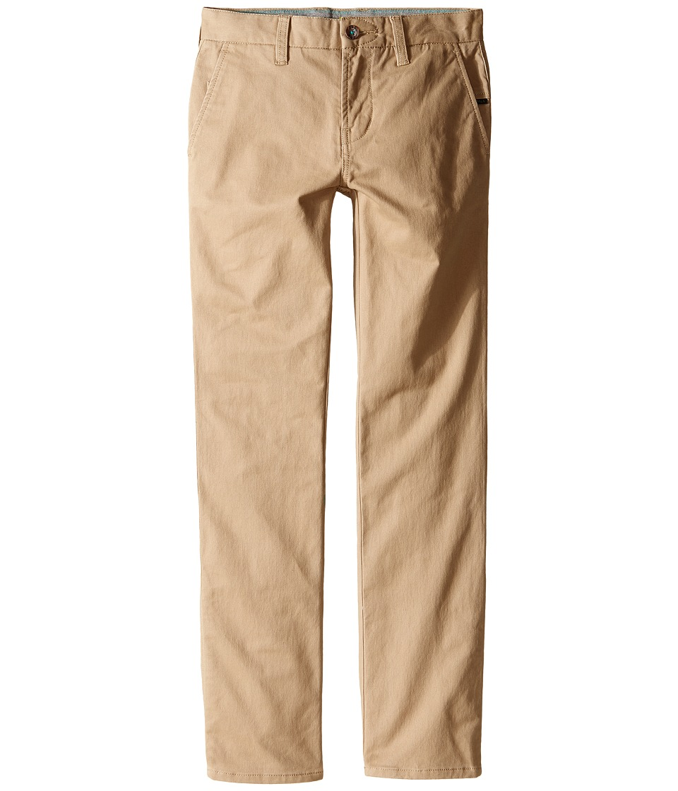 VISSLA Kids - High Tider Pants Slim Fit Stretch Twill 28 (Big Kids) (Khaki) Boy's Casual Pants