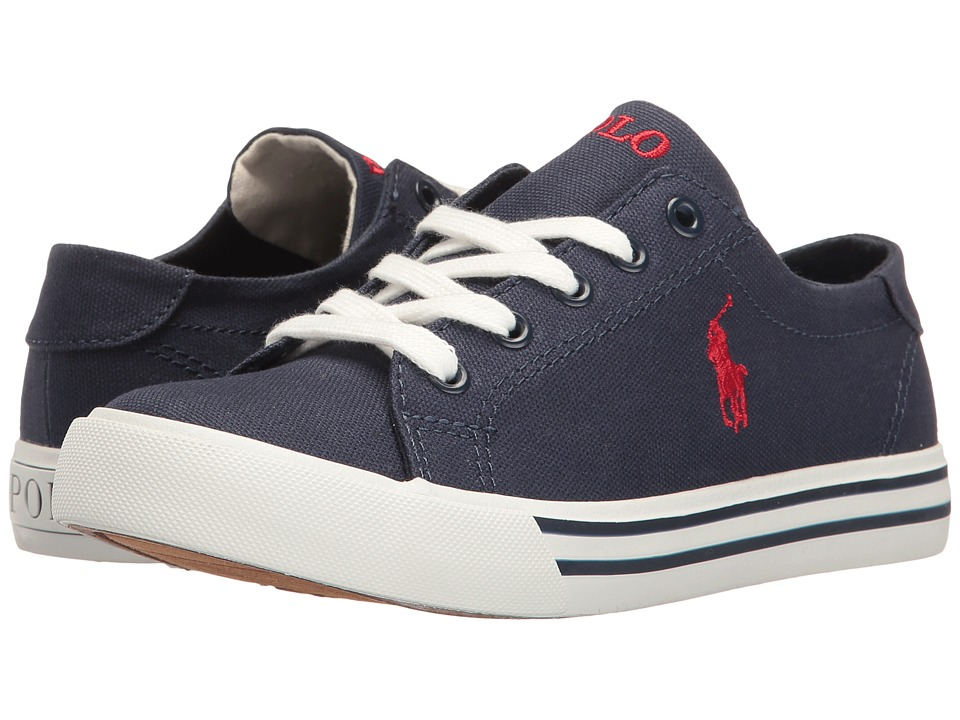 Polo Ralph Lauren Kids - Slater (Little Kid) (Navy Canvas/Red Pony Player) Kid's Shoes