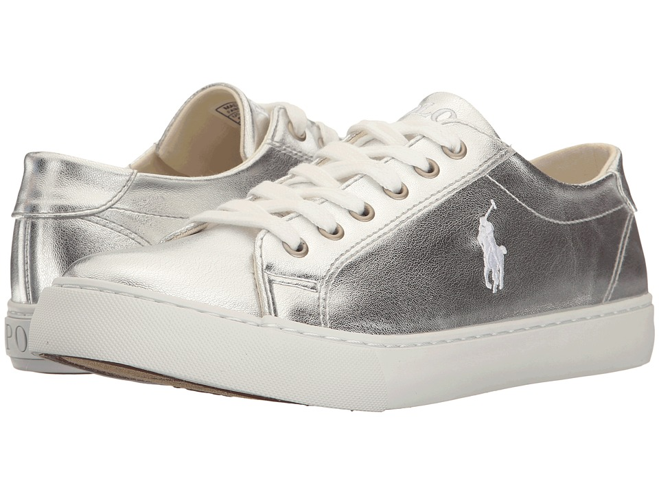 Polo Ralph Lauren Kids - Slater (Big Kid) (Silver Metallic/White Pony Player) Girl's Shoes