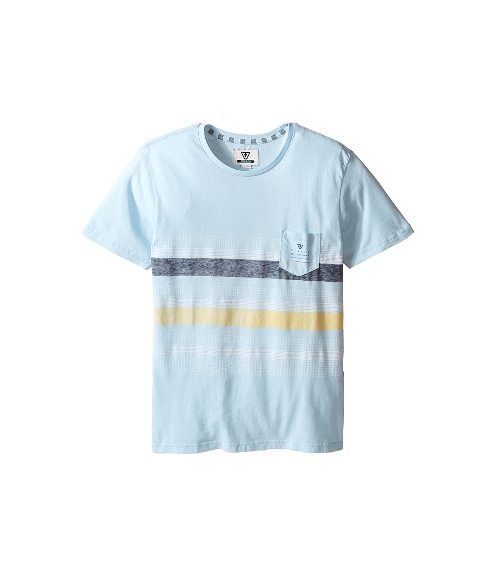 VISSLA Kids - Kookabunga Heatherd 30 Singles Short Sleeve Pocket Crew (Big Kids) (Ice Blue Heather) Boy's Clothing