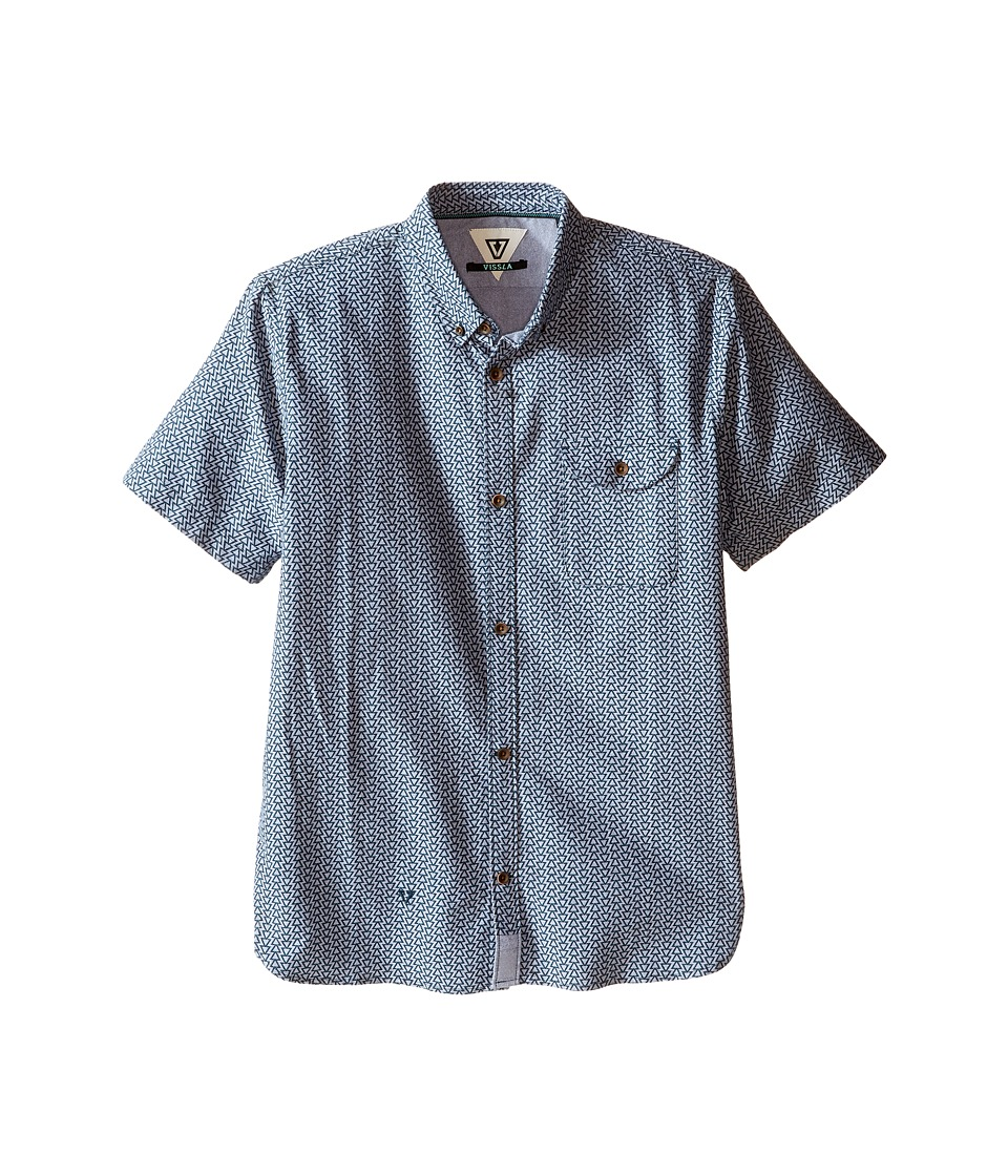 VISSLA Kids - 2X7 Oxford Short Sleeve Woven All Over Print (Big Kids) (Dark Navy) Boy's Clothing