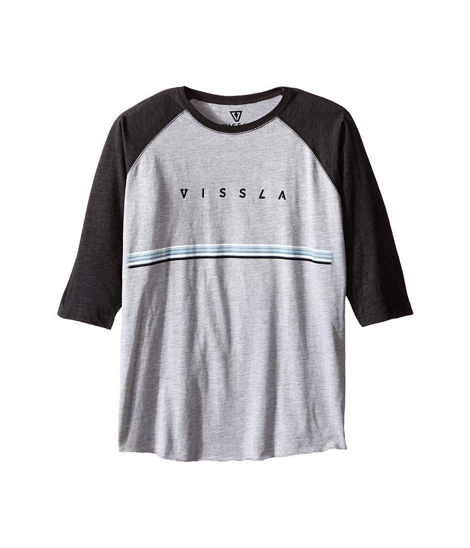 VISSLA Kids - Lei Day Raglan 3/4 Sleeve Heathered Tee (Big Kids) (Black Heather) Boy's T Shirt