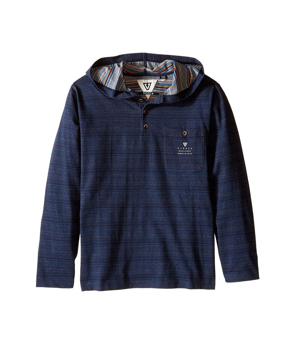 VISSLA Kids - Navigator Heavy Weight Jersey Printed Stripe Hooded Henley (Big Kids) (Dark Navy) Boy's Clothing