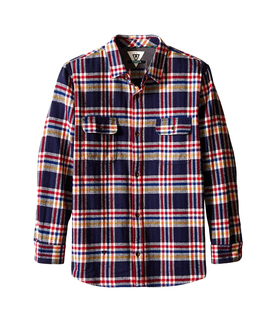 VISSLA Kids - The Bluff Plaid Long Sleeve Heavy Weight Flannel (Big Kids) (Dark Navy) Boy's Clothing