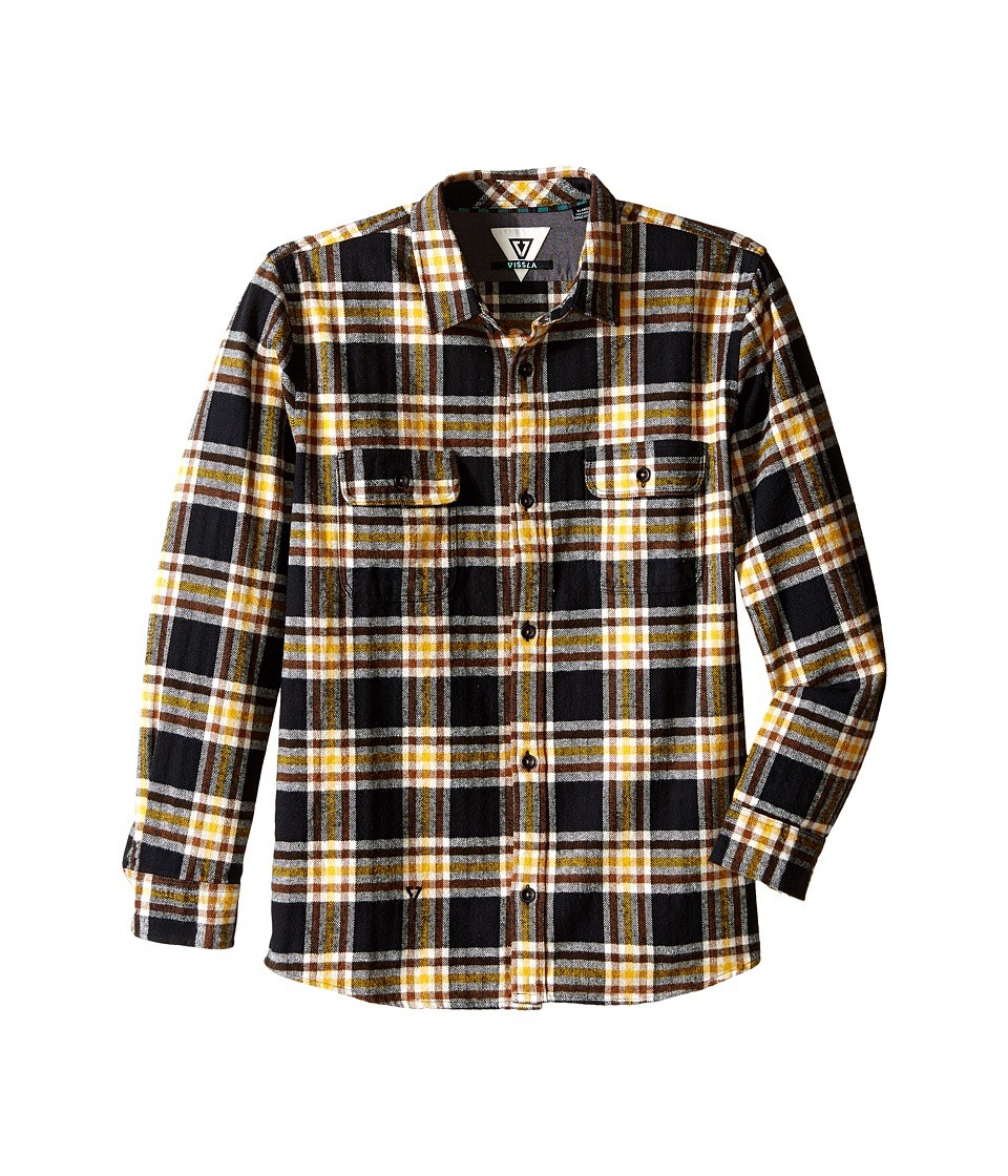 VISSLA Kids - The Bluff Plaid Long Sleeve Heavy Weight Flannel (Big Kids) (Black) Boy's Clothing