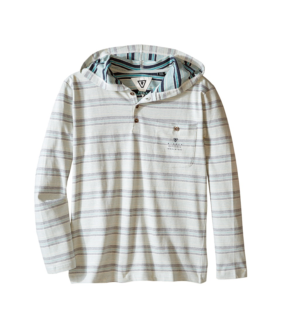 VISSLA Kids - Navigator Heavy Weight Jersey Printed Stripe Hooded Henley (Big Kids) (Bone) Boy's Clothing
