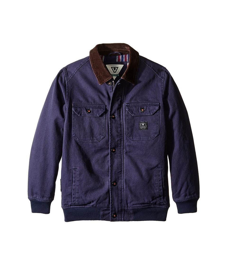 VISSLA Kids - Reynolds Heavy Canvas Flannel Lined Jacket (Big Kids) (Dark Navy) Boy's Coat