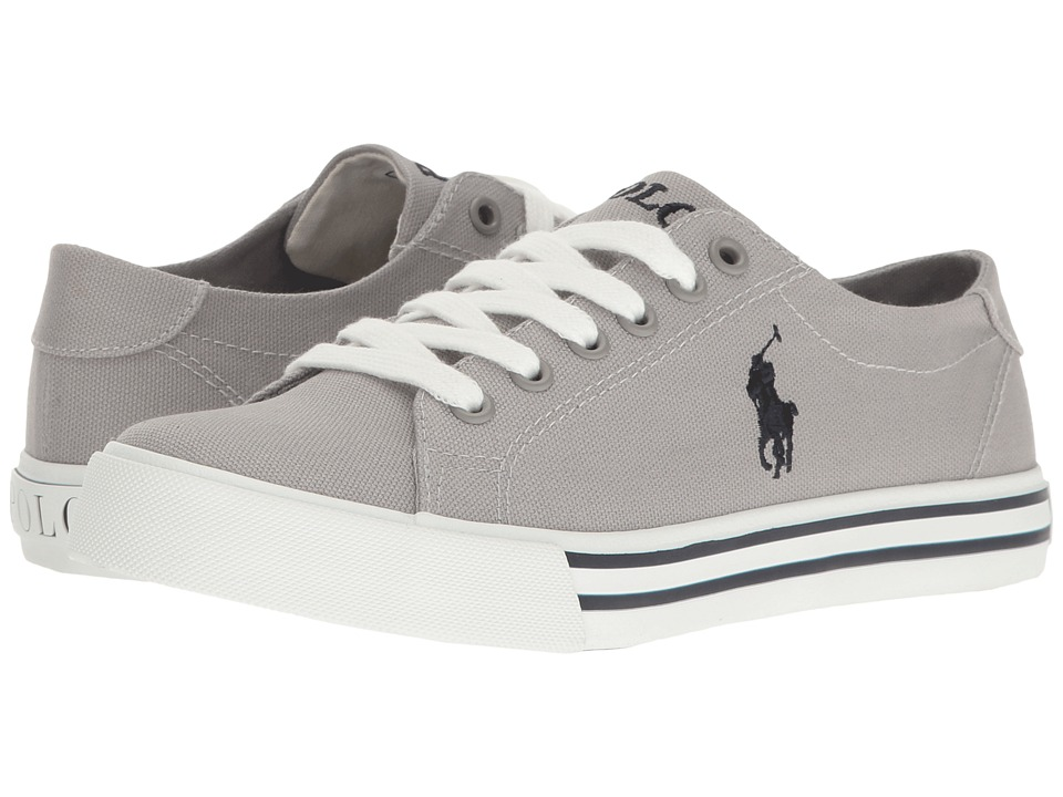 Polo Ralph Lauren Kids - Slater (Big Kid) (Grey Canvas/Navy Pony Player) Kid's Shoes