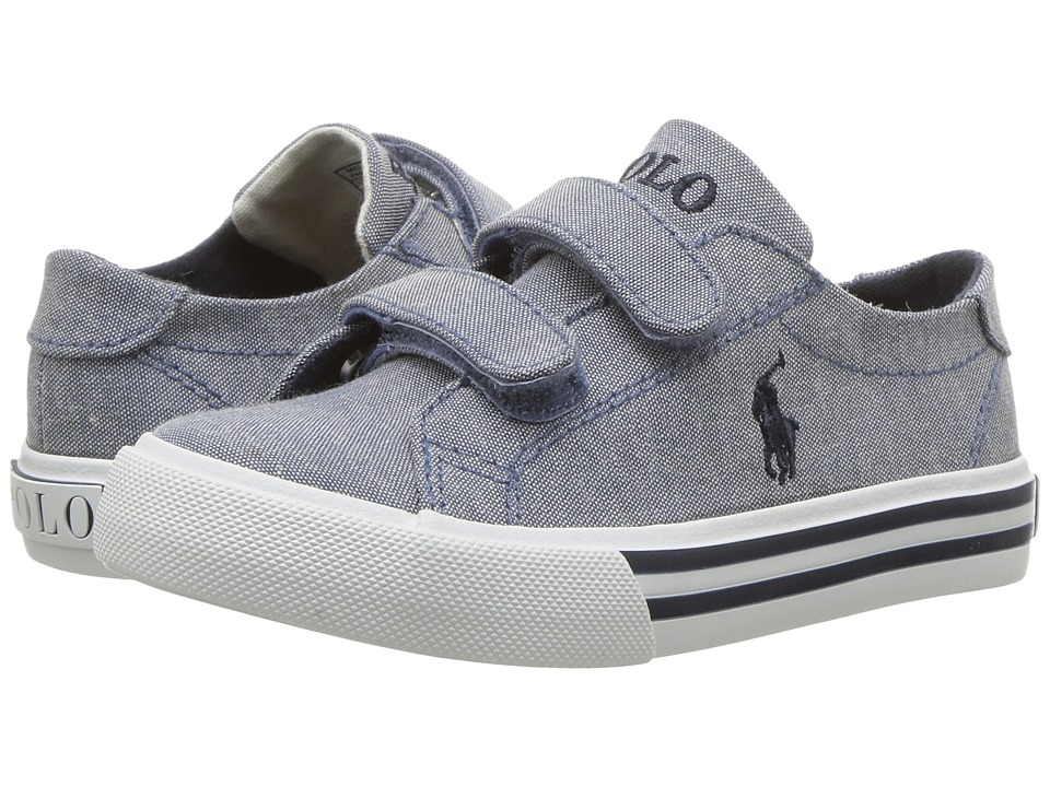 Polo Ralph Lauren Kids - Slater EZ (Toddler) (Blue Chambray/Navy Pony Player) Girl's Shoes