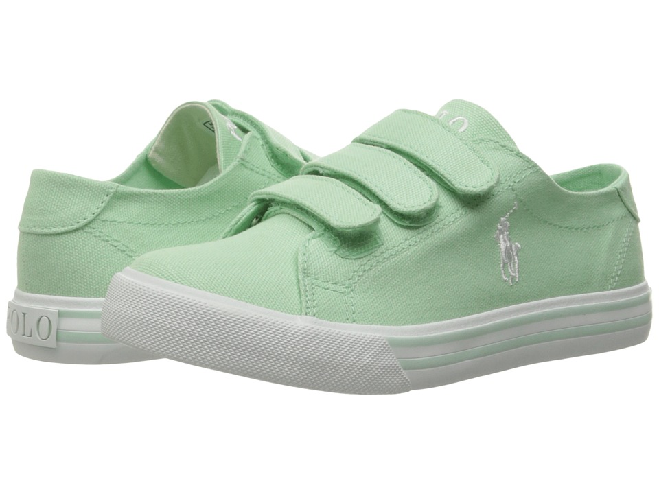 Polo Ralph Lauren Kids - Slater EZ (Little Kid) (Pistachio Canvas/White Pony Player) Girl's Shoes