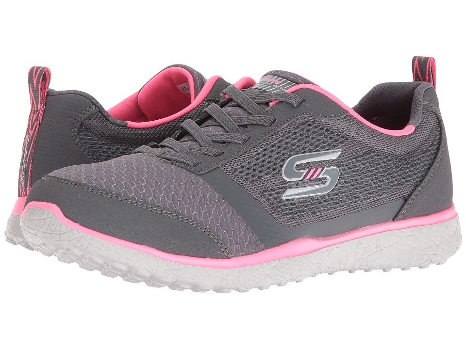 SKECHERS - Microburst - Spirited (Charcoal/Neon Pink) Women's Shoes