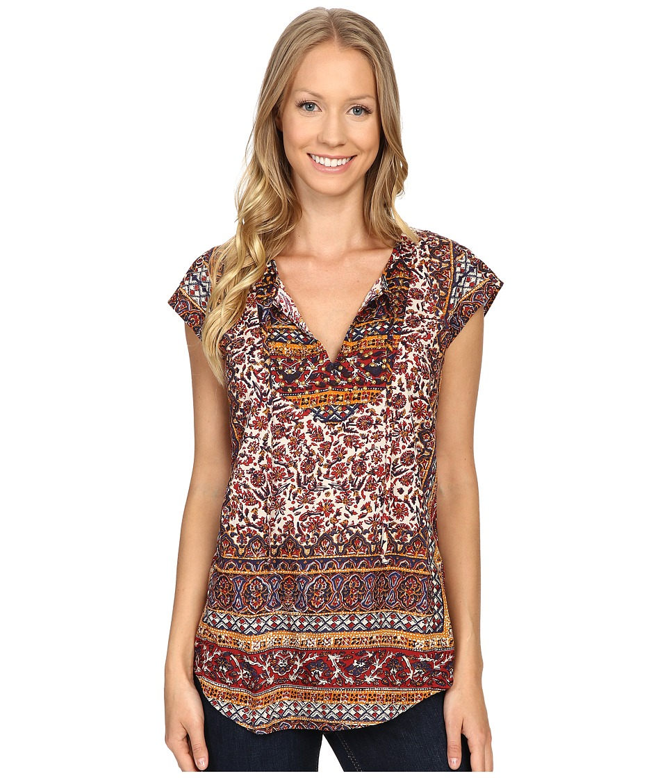 Lucky Brand - Border Print Top (Red Multi) Women's Short Sleeve Pullover