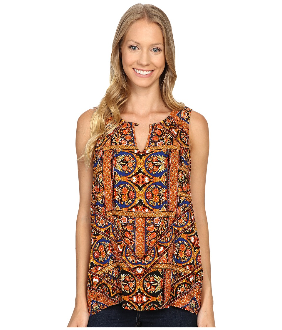 Lucky Brand - Sleeveless Printed Shell Top (Orange Multi) Women's Sleeveless