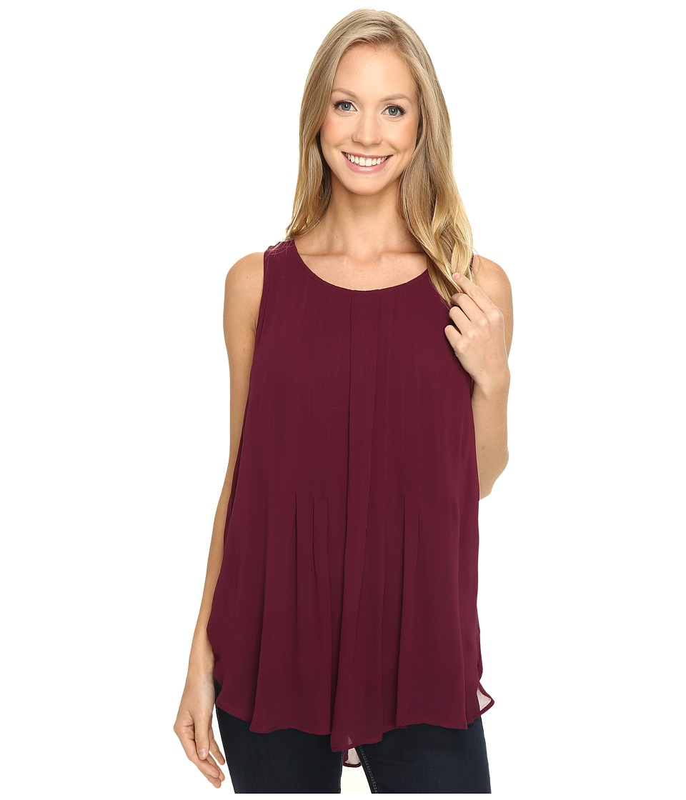 Lucky Brand - Pleated Tank Top (Burgundy) Women's Sleeveless