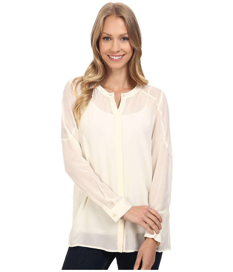 Lucky Brand - Silk Button Down Top (Whisper White) Women's Long Sleeve Button Up