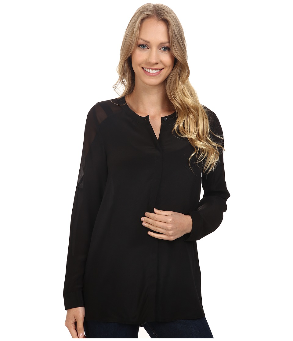 Lucky Brand - Silk Button Down Top (Jet Black) Women's Long Sleeve Button Up