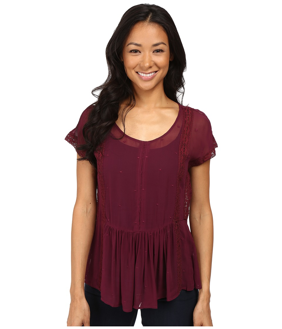 Lucky Brand - Lace Peplum Top (Burgundy) Women's Short Sleeve Pullover