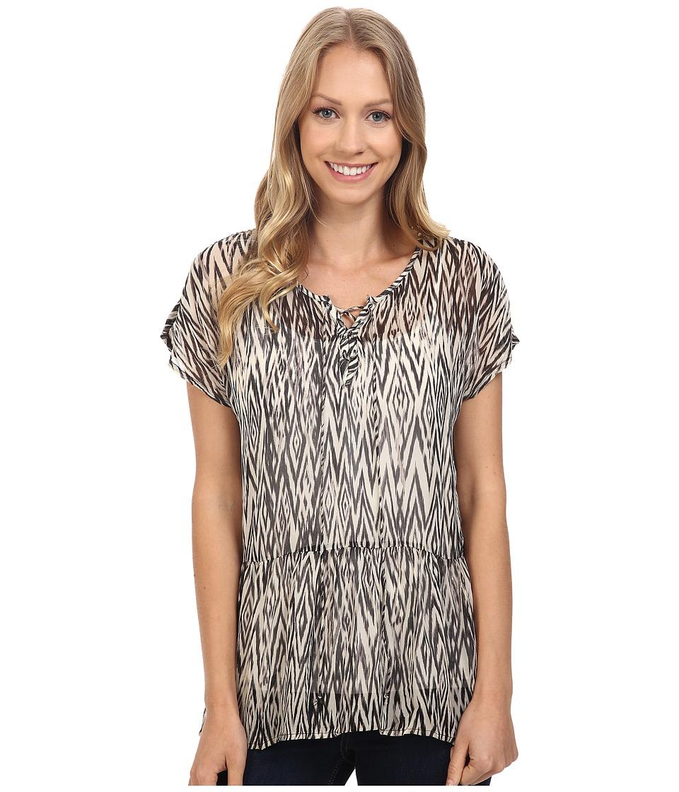 Lucky Brand - Ikat Peplum Top (Black Multi) Women's Short Sleeve Pullover