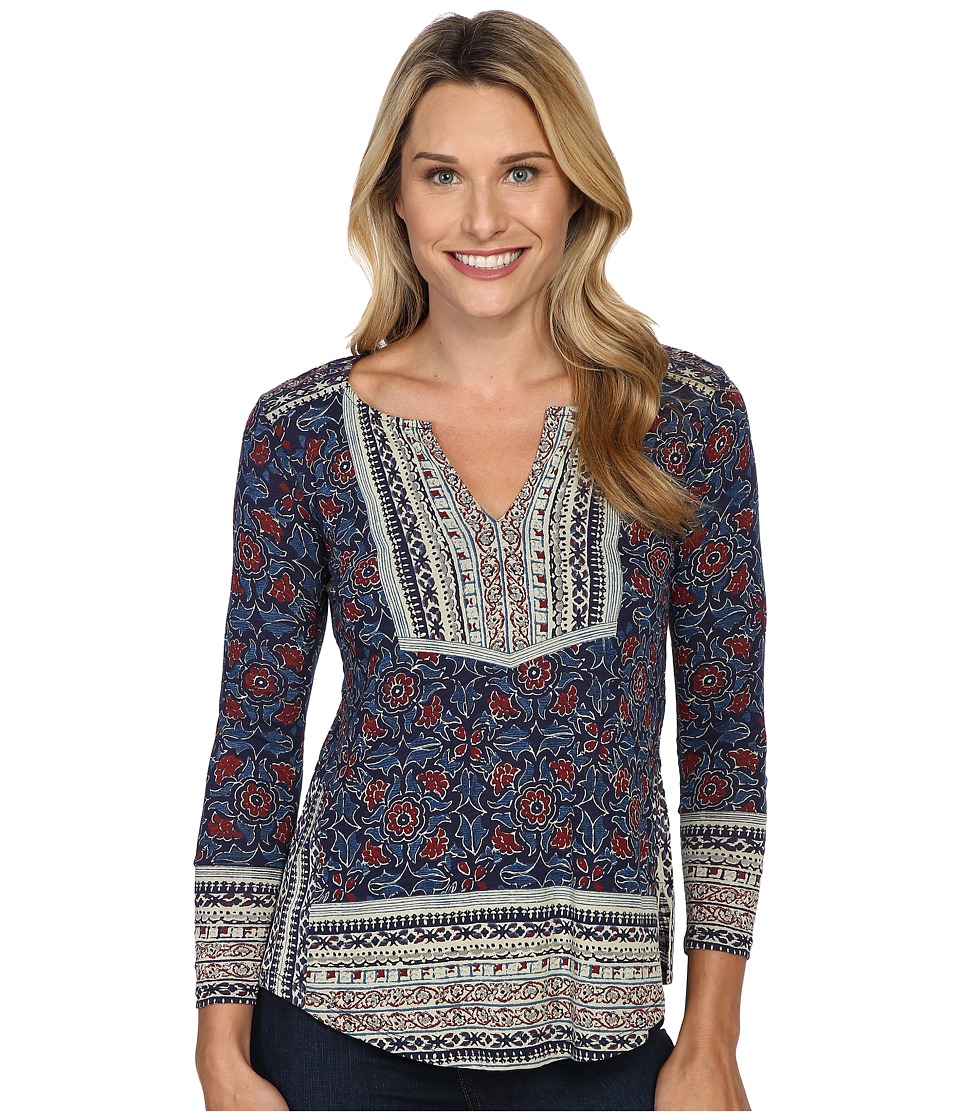 Lucky Brand - Block Floral Top (Navy Multi) Women's Clothing