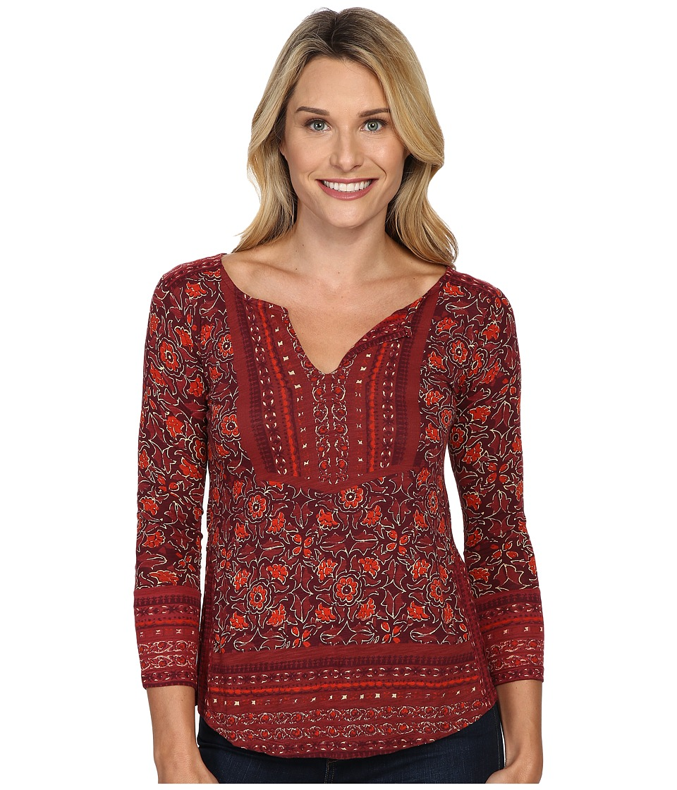 Lucky Brand - Block Floral Top (Red Multi) Women's Clothing