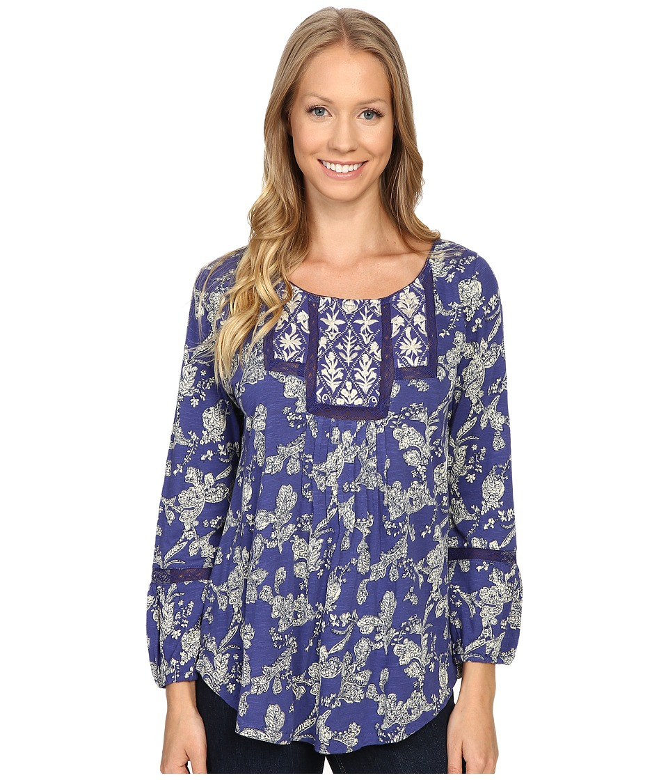 Lucky Brand - Floral Bib Top (Blue Multi) Women's Clothing