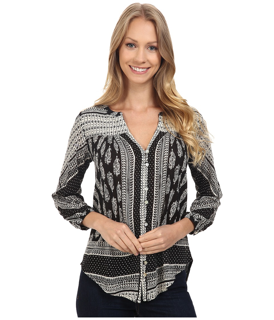 Lucky Brand - Placed Paisley Top (Black Multi) Women's Clothing